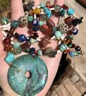 Vintage Native American Turquoise Stone Animal Fetish Art Glass Bead Necklace