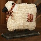 PRIMITIVE DECOR ~ Sheep On Wood Base - Chenille Fabric ~ COUNTRY ~ FARMHOUSE
