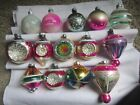 VINTAGE LOT OF 14 INDENT STENCIL RD TAPER STRIPED GLASS CHRISTMAS ORNAMENTS