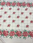 FLORAL BORDER WITH NAVY PLAID COTTON 60W 2 1 2 YARDS