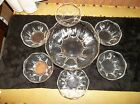 Vintage Anchor Hocking Clear Glass 7 Piece Berry Bowl Set 6- 4