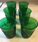 6 Vintage Forest Green Daisy Anchor Hocking Sandwich 8oz. Glasses Tumblers EUC