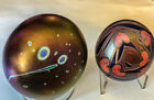 TWO Early Lundberg Paperweight s Comet/Stars and Hearts/Vines