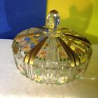 Vintage Antique Clear  Glass  Hand Painted Candy Dish w Lid