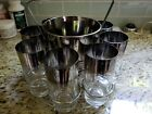 Dorothy Thorpe Silver Rimmed Glasses With Ice Bucket And Stand Set