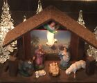 lighted Vtg 50s Nativity Mary Jesus manger Handpainted stable sheep creche