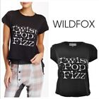 Wildfox Twist Pop Fizz Tee Ahirt T-shirt Size Xs Sz X-Small Black Distressed