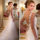 2019 Scoop Neck Lace Appliques Mermaid White Ivory Wedding Dresses Bridal Gown