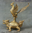 China Palace Brass Copper Fengshui Animal Dragon Turtle Zodiac Cock Chook Statue