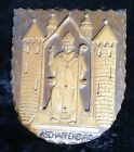 Circa 1950's at Latest Bavarian Carved Wooden Plaque of Aschaffenburg, Germany