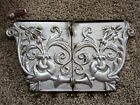 2 Cast Iron Architectural Building Plaques Victorian Plates Shabby Garden Panels