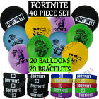 40 Piece FORTNITE Birthday Party Favors  Supplies 20 Bracelets  20 Balloons