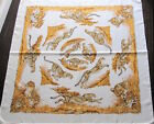 Hermes Scarf Stole Guepards Tattoo by Robert Dallet Animal Silk Brown Auth New