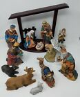Kirkland Signature Nativity Set 13 Piece Wood Creche Handpainted Porcelain