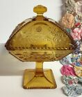 Vintage Hazel Atlas Amber Candy Compote Footed Dish with Lid Raised Floral Decor