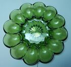 VINTAGE ANCHOR HOCKING GREEN FAIRFIELD DEVILED EGG DISH TRAY PLATE Rare