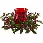 16 Wide Artificial Holly  Berry Candle Ring Holder w Glass Red