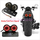 Motorcycle Twin Dual Tail Turn Signal Brake License Plate Integrated LEDLight