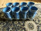 Set of 8 Wedgewood Grecian Blue/White Drinking Glasses 22k trim + Wire Caddy.