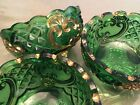3 Antique Green And Goldtone Glass Footed Candy/Nuts Bowls