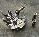VINTAGE MARINE COLLECTIBLE BRASS WORKING GERMAN NAUTICAL SEXTANT WITH TELESCOPES