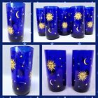 RARE! 2 Libbey Glass Cobalt Blue Celestial Moon Sun Stars Cooler Tumbler Tea Set