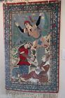FINE ANTIQUE PERSIAN ESFAHAN ISFAHAN PICTORIAL RUG SILK FOUNDATION