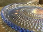 Vtg INDIANA GLASS Ice Blue DIAMOND POINT 12 Round SERVING PLATTER Cake PLATE