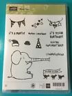 Stampin Up HENRY SAYS Red Rubber CM Stamp ELEPHANT CHRISTMAS BIRTHDAY Hats