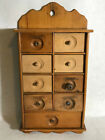 ANTIQUE PRIMITIVE WOODEN 9 DRAWER SPICE CABINET WALL MOUNT OR COUNTER