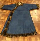 Very Fine Antique Chinese Silk Winter Blue Robe with Fine Details Qing Dynasty