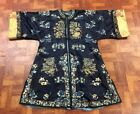 Very Fine Antique Chinese Silk Blue Robe with Peking Knot Gold Sleeve Bands NR