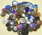 BUTTON LOT Antique Vintage Collectible All KINDS Purples Blues Insects Glass ETC