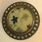 Celluloid Incised Tinted Leaves Metal Paste Jewel Border Large Antique Button Ol