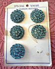 Five Vintage Large DEEP BLUE Rhinestone Buttons on Card - 1 1/4