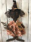 Primitive Halloween Doll Witch Black Folk Art Doll~Grungy Rusty Bell Signed