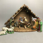 VTG 14 Piece Nativity Set Wooden Creche Music Box plays Silent Night W Germany