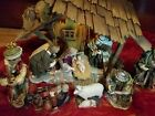 Members Mark RARE 2006 LARGE Hand painted Porcelain Nativity Set wood resin LED