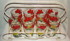 Vintage 8 Drinking Glass Set with Metal Caddy Red White Yellow Orange Flowers
