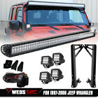 52inch CREE LED Light Bar 4 Light Pods Mount Bracket For 07 18 Jeep Wrangler JK