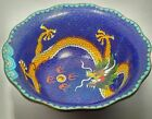 Antique Chinese Blue Cloisonne BOWL with Imperial Dragon
