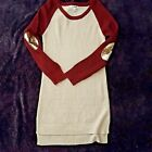 SAY WHAT womens XL sweaterr red tan gold sequin pullover ribbed crewneck