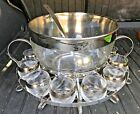 Vintage Dorothy Thorpe Silver Band Punch Bowl Set Roly Poly Glass Barware MCM +