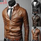 New Men PU Leather VINTAGE Leather Jacket Zipper Biker Motorcycle Coat