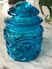 Stars Small Apothecary Canister Jar Blue 5 inches tall
