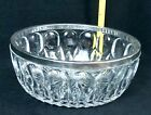 Vintage Glass VERTICAL THUMBPRINT SILVER RIMMED 8 1 2 in SERVING BOWL 5