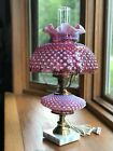 Vintage Fenton Cranberry Lamp Hobnail Gone With The Wind