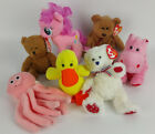 Lot 7 Ty Beanie Baby Curly Inky Quackers Pinkie Pie Big Kiss You Did Uncle Sam