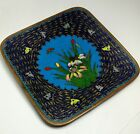 Antique Chinese Cloisonne Enamel Dish Small Square Plate Flowers Butterfly