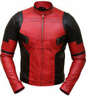 Ryan Reynolds Deadpool Front Zip Closure Red and Black Leather Motorcycle Jacket